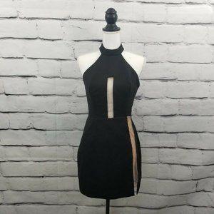 NBD Revolve  Black Blush Pink Sheer Cutout Dress